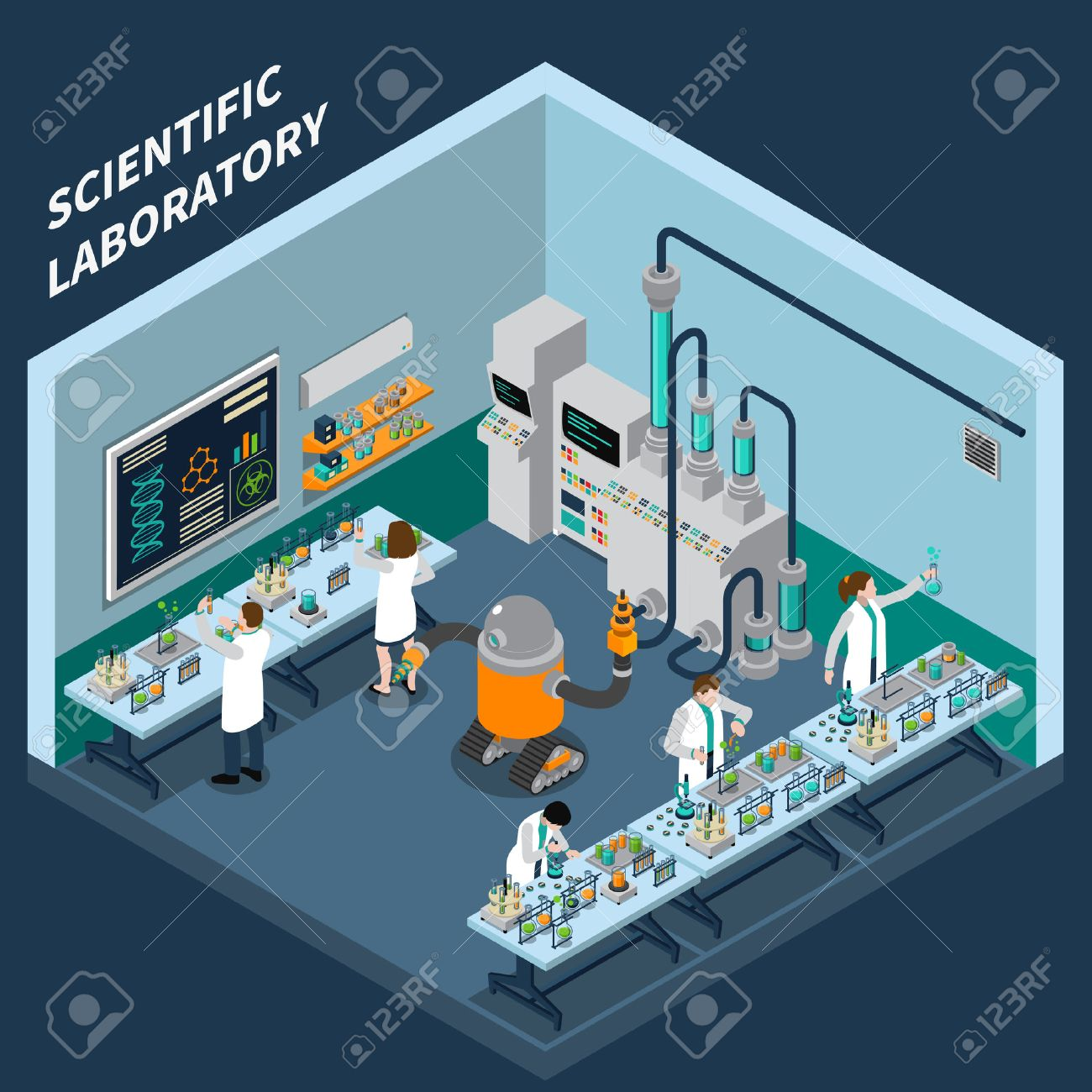 Science isometric concept with laboratory symbols on blue background vector illustration Stock Vector - 62539541