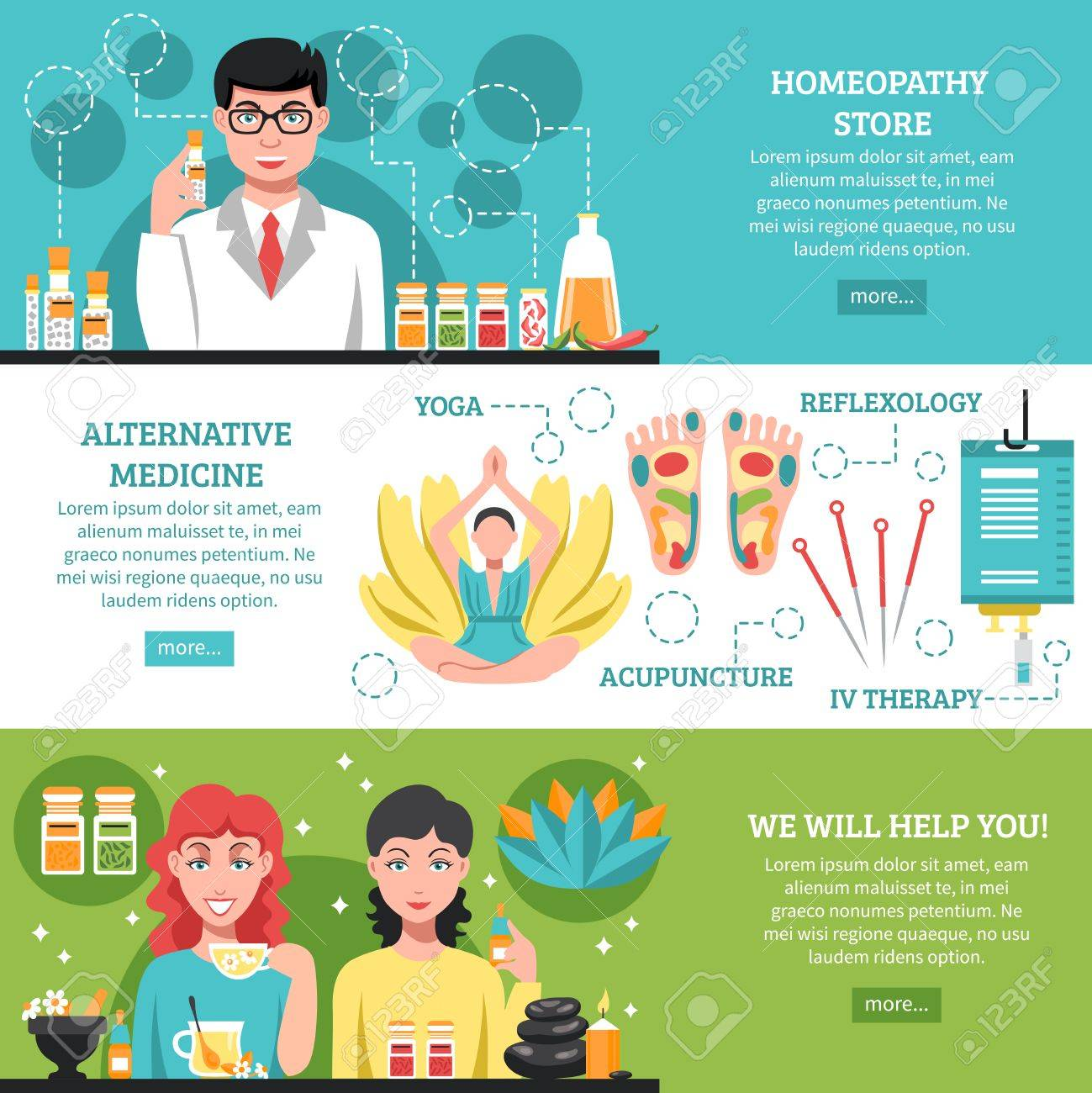 Alternative Medicine Horizontal Banners With Acupuncture Reflexology Royalty Free Cliparts Vectors And Stock Illustration Image 62991262