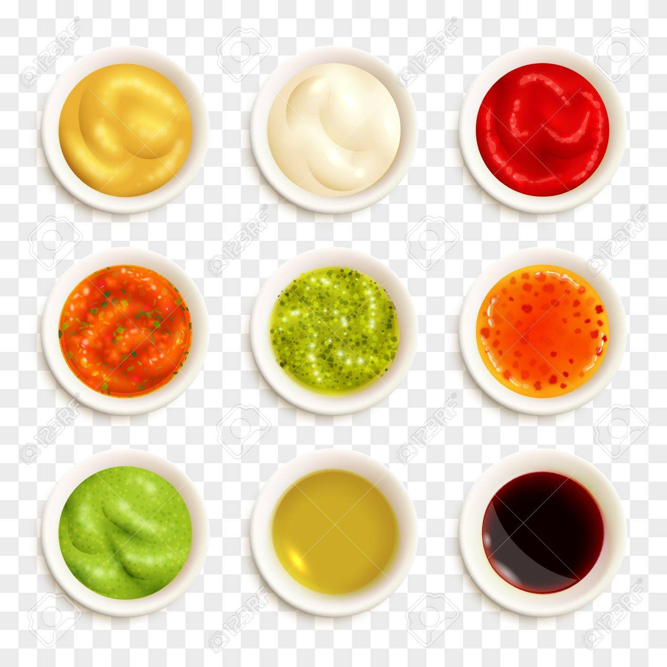 Set of color icons depicting different sauce in plate vector illustration - 63155132