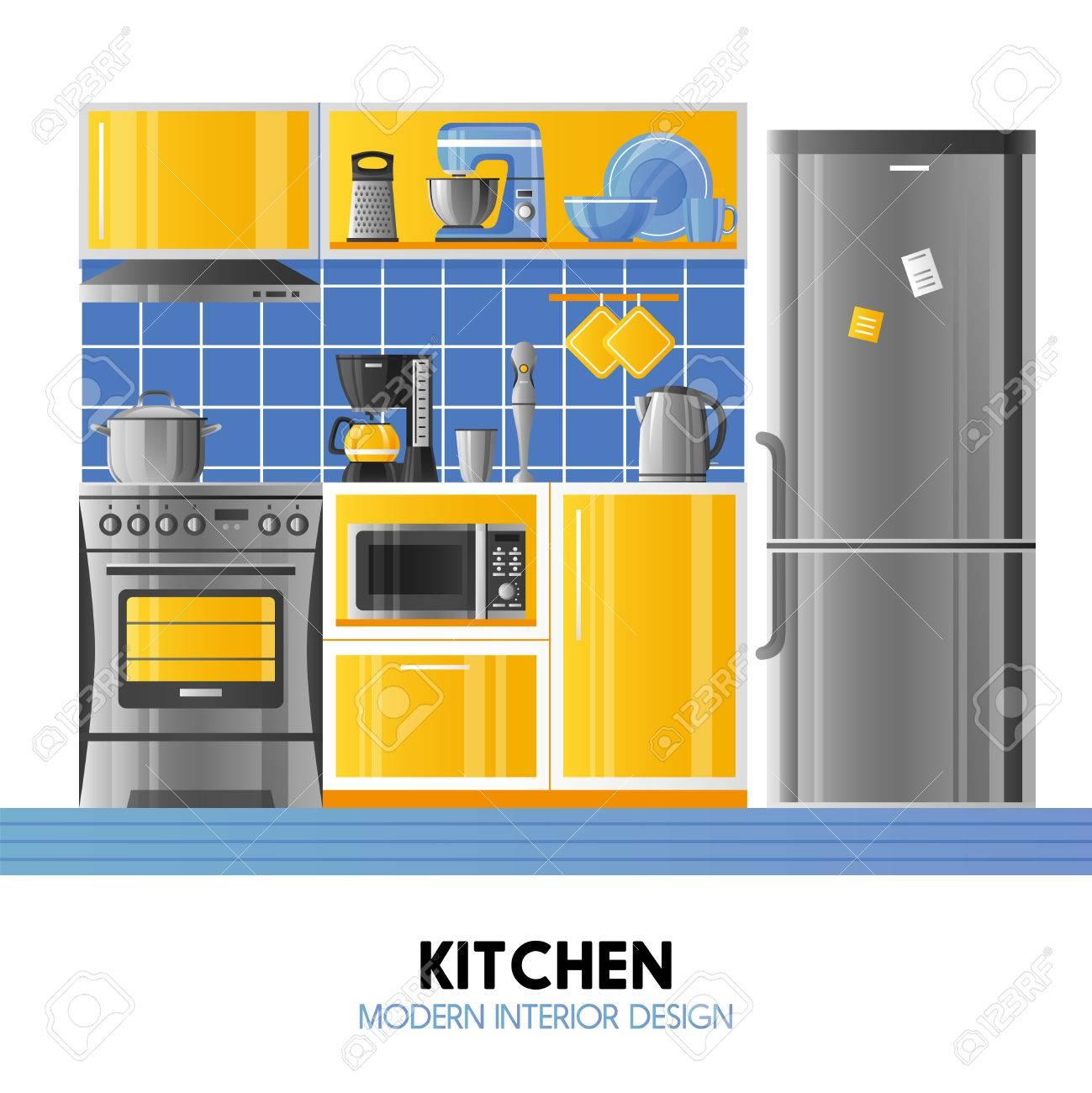 Küche Modernes Interieur Design-Konzept In Realistischen Stil Mit ...