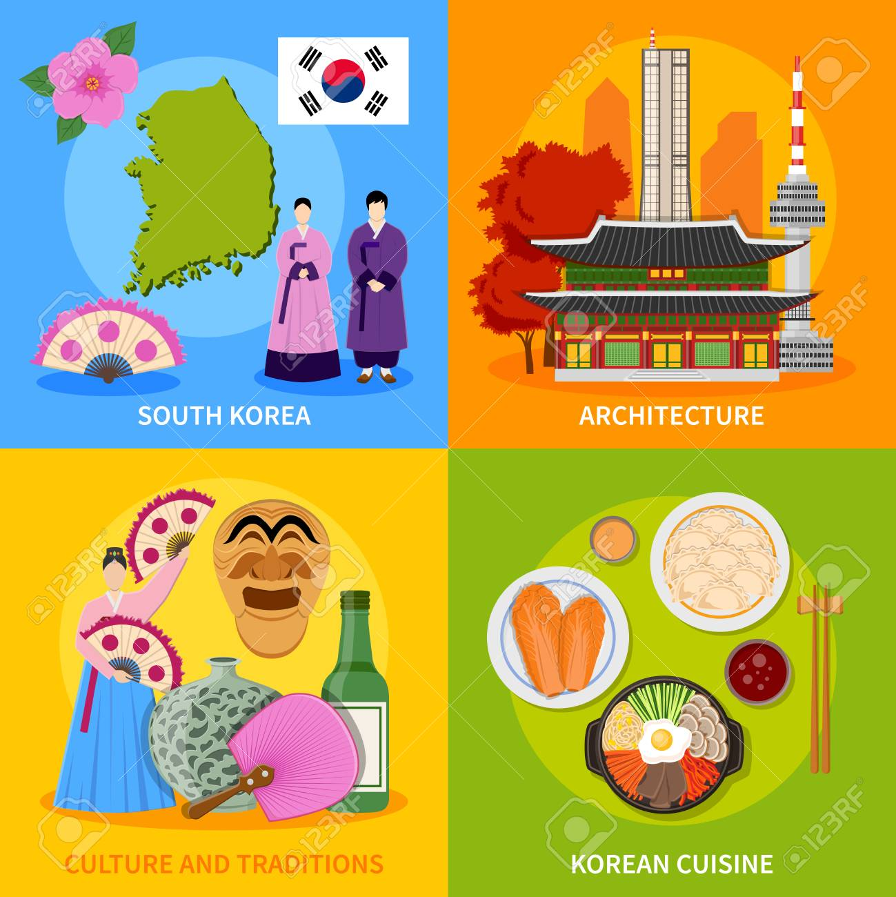 Korean culture traditions symbols cuisine map and landmarks 4 korean culture traditions symbols cuisine map and landmarks 4 flat icons square poster abstract vector isolated biocorpaavc Image collections