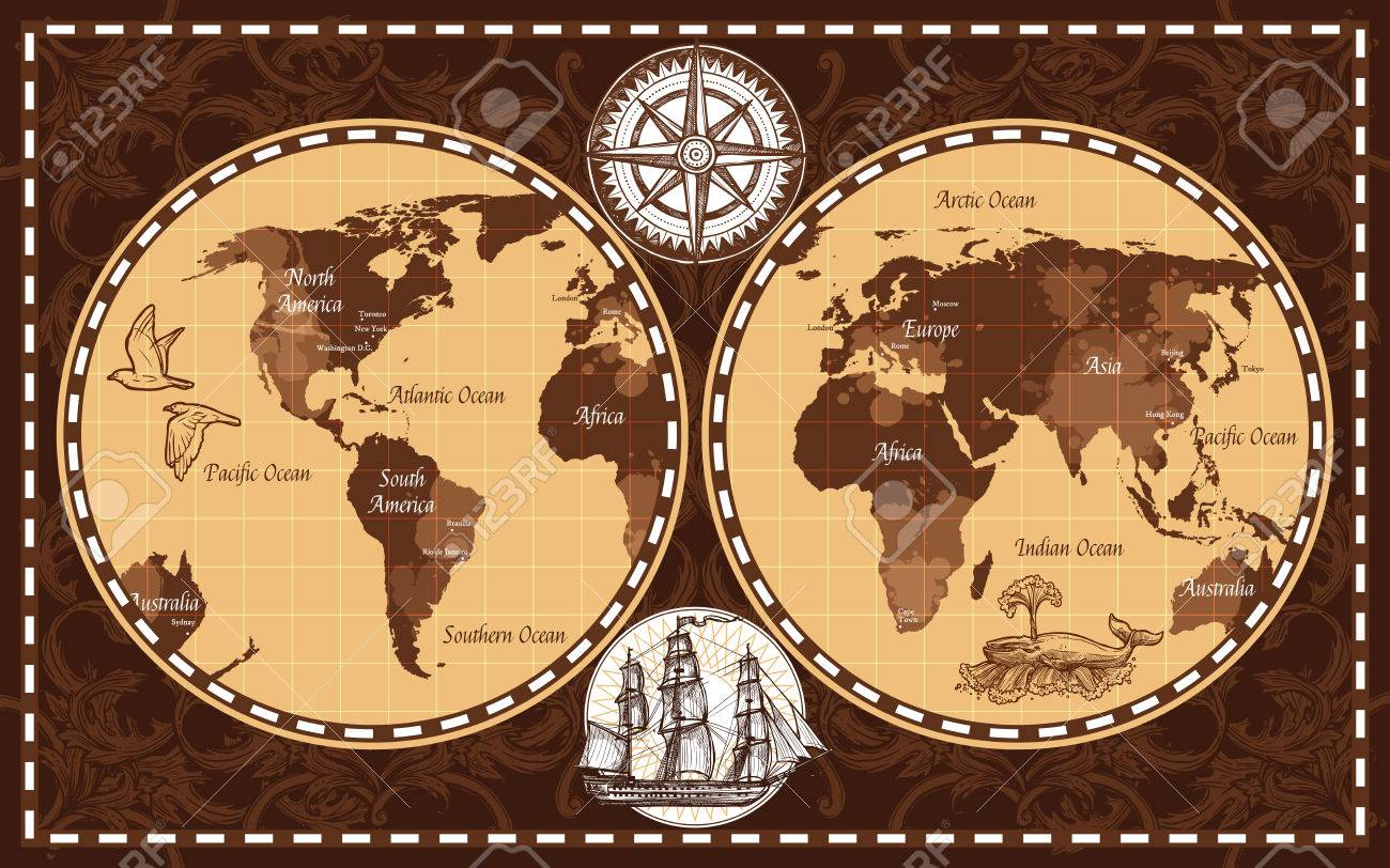 Brown color retro nautical world map with names of continents brown color retro nautical world map with names of continents and oceans flat vector illustration stock gumiabroncs