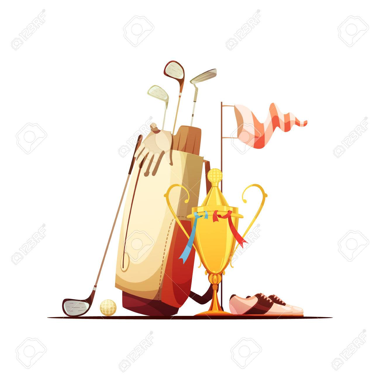 Golf Bag With Ball Clubs Shoes And Tour Championship Winner Trophy Royalty Free Cliparts Vectors And Stock Illustration Image 64468335