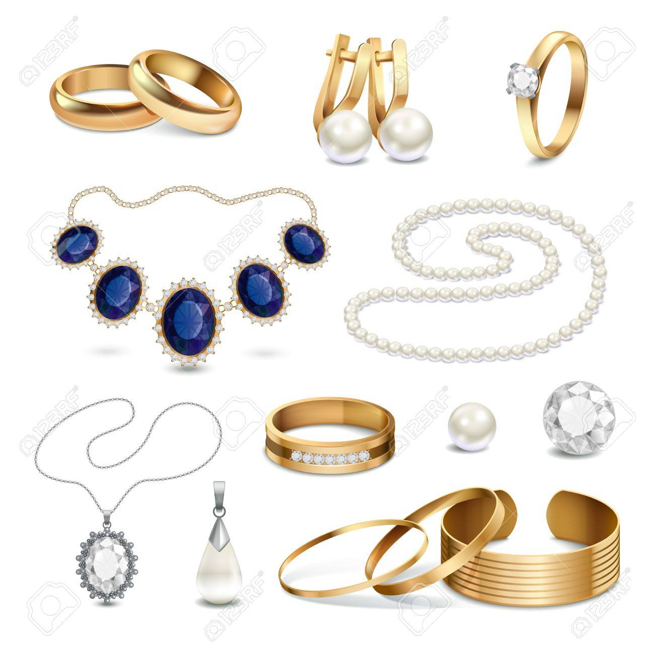 8c5416f37 Beautiful fashionable gold and silver jewelry and accessories realistic set  isolated on white background vector illustration