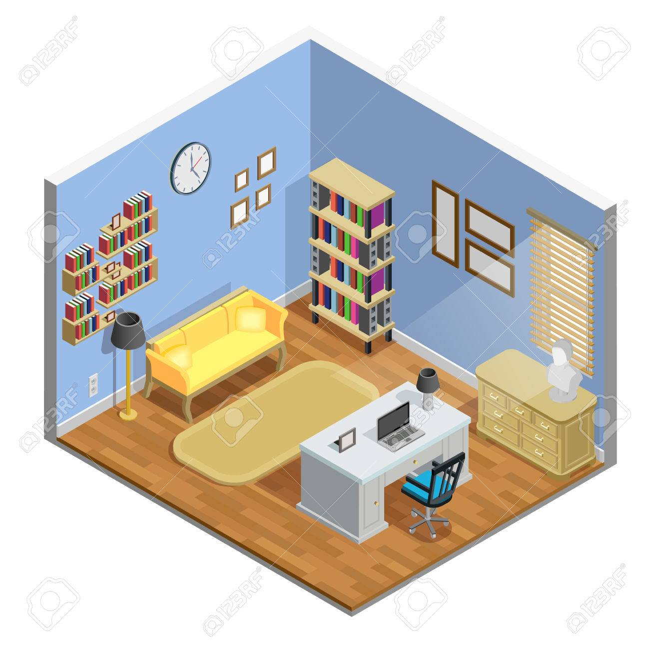 Astounding Study Room Isometric Concept With Table Sofa And Laptop Vector Pabps2019 Chair Design Images Pabps2019Com