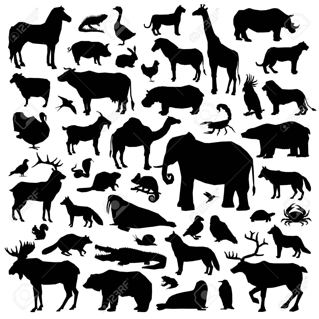 Wild and domestic animals and birds living in various climatic zones big black silhouette set isolated on white background vector illustration - 64668061
