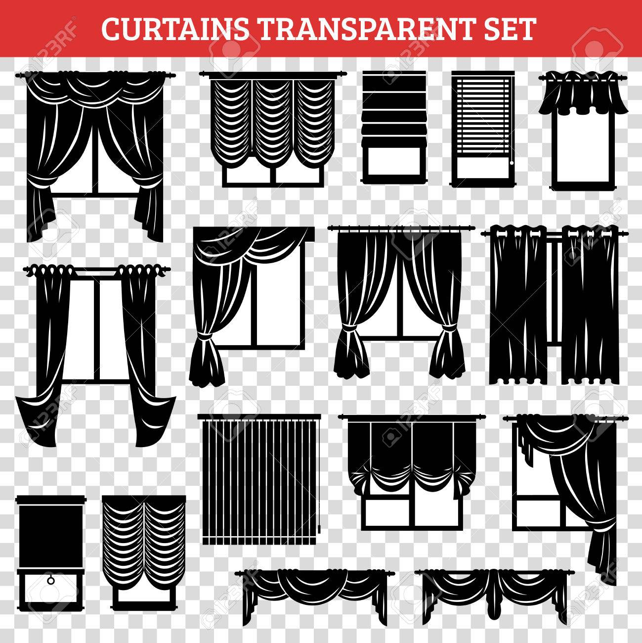 Windows Silhouettes With Curtains And Jalousie Black Set On ...