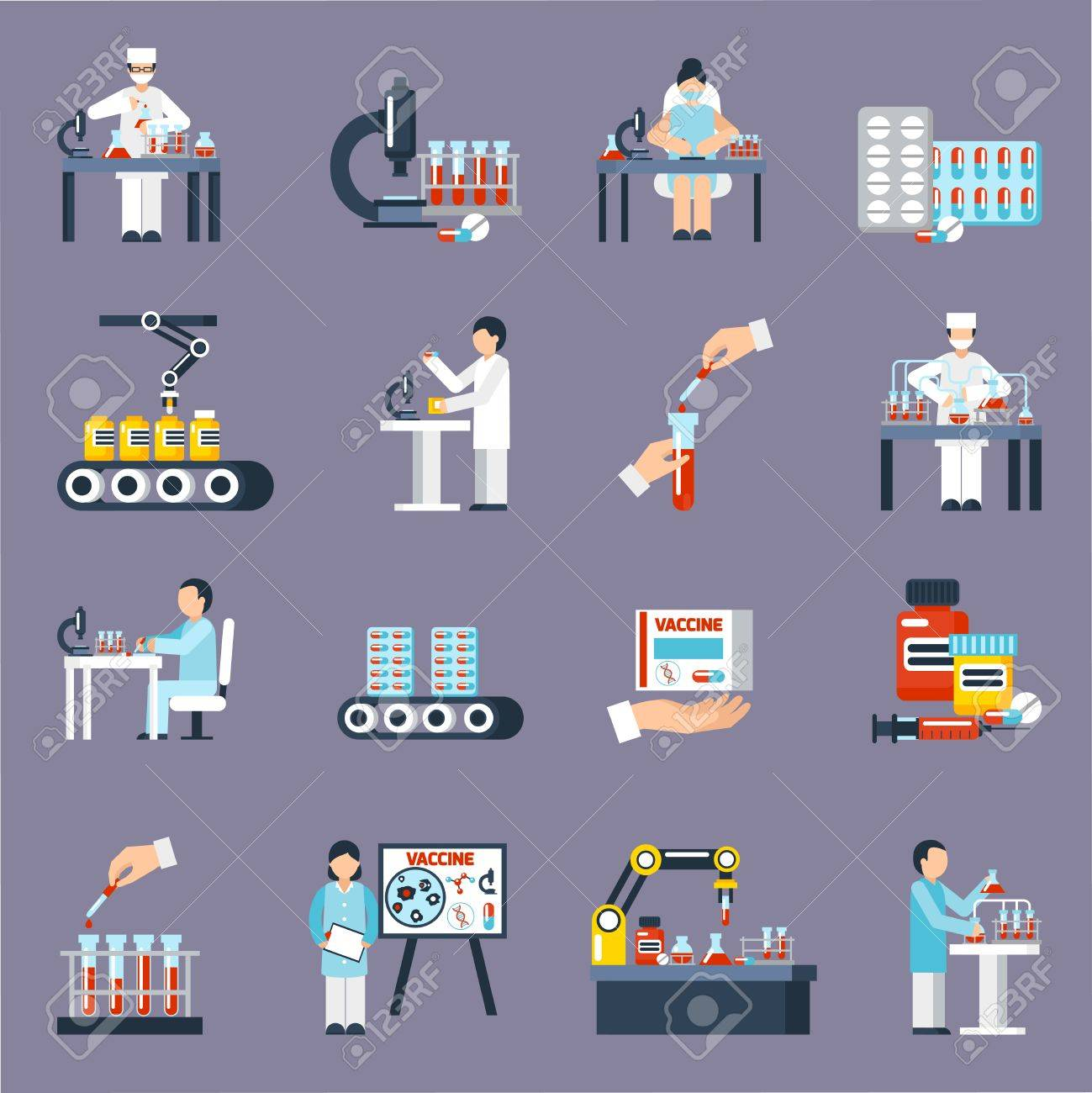 Pharmaceutical production icons set with research and science symbols flat isolated vector illustration - 64668131