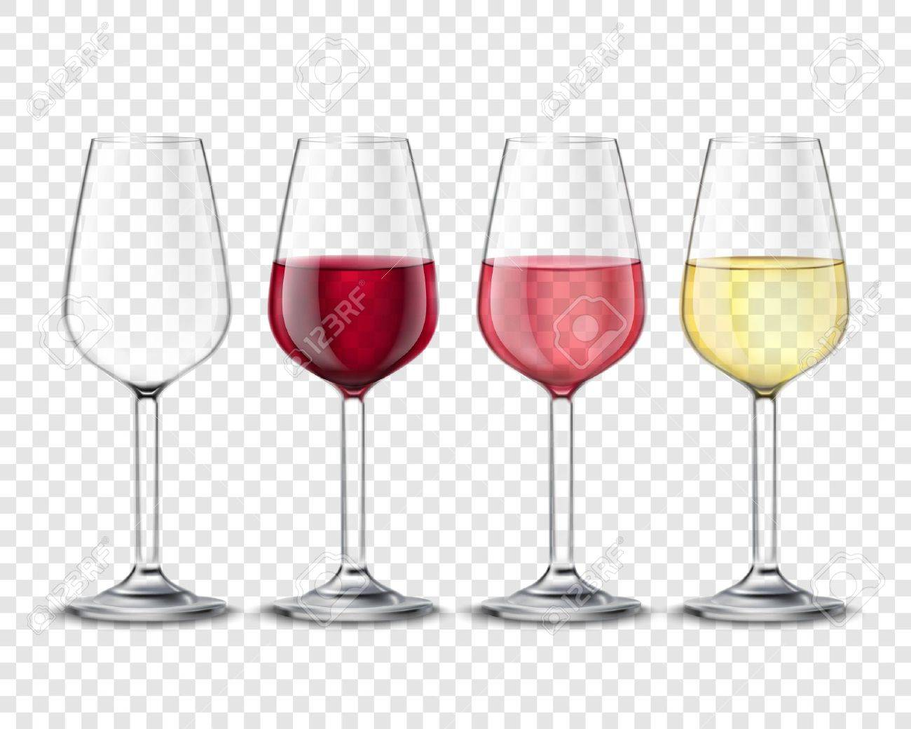 Classic wineglass alcohol drink glasses set with red white and rose wine realistic transparent poster vector illustration Stock Vector - 64668162