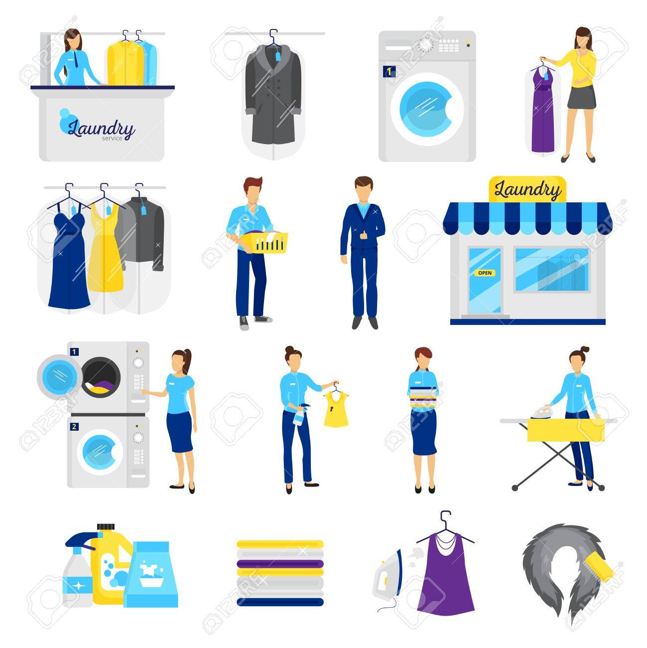 Laundry service set with dry cleaning symbols flat isolated vector laundry service set with dry cleaning symbols flat isolated vector illustration stock vector 64668315 buycottarizona Images