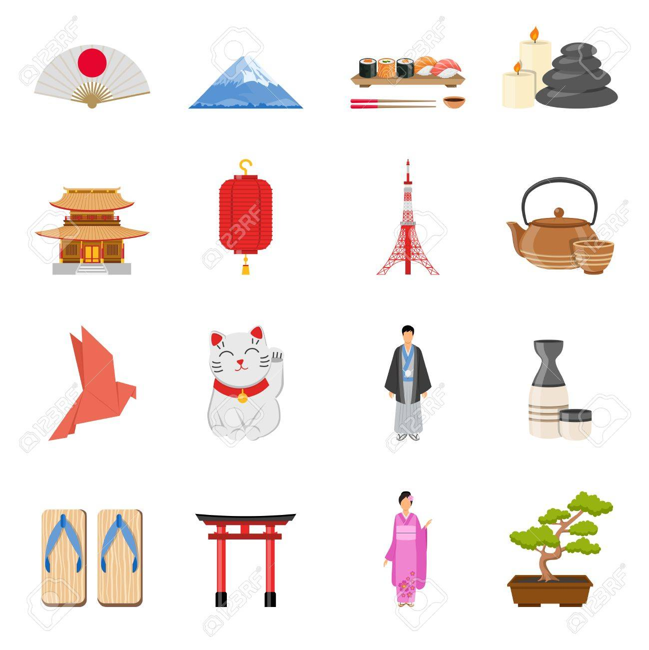 Japanese Culture Traditions And National Symbols Flat Icons