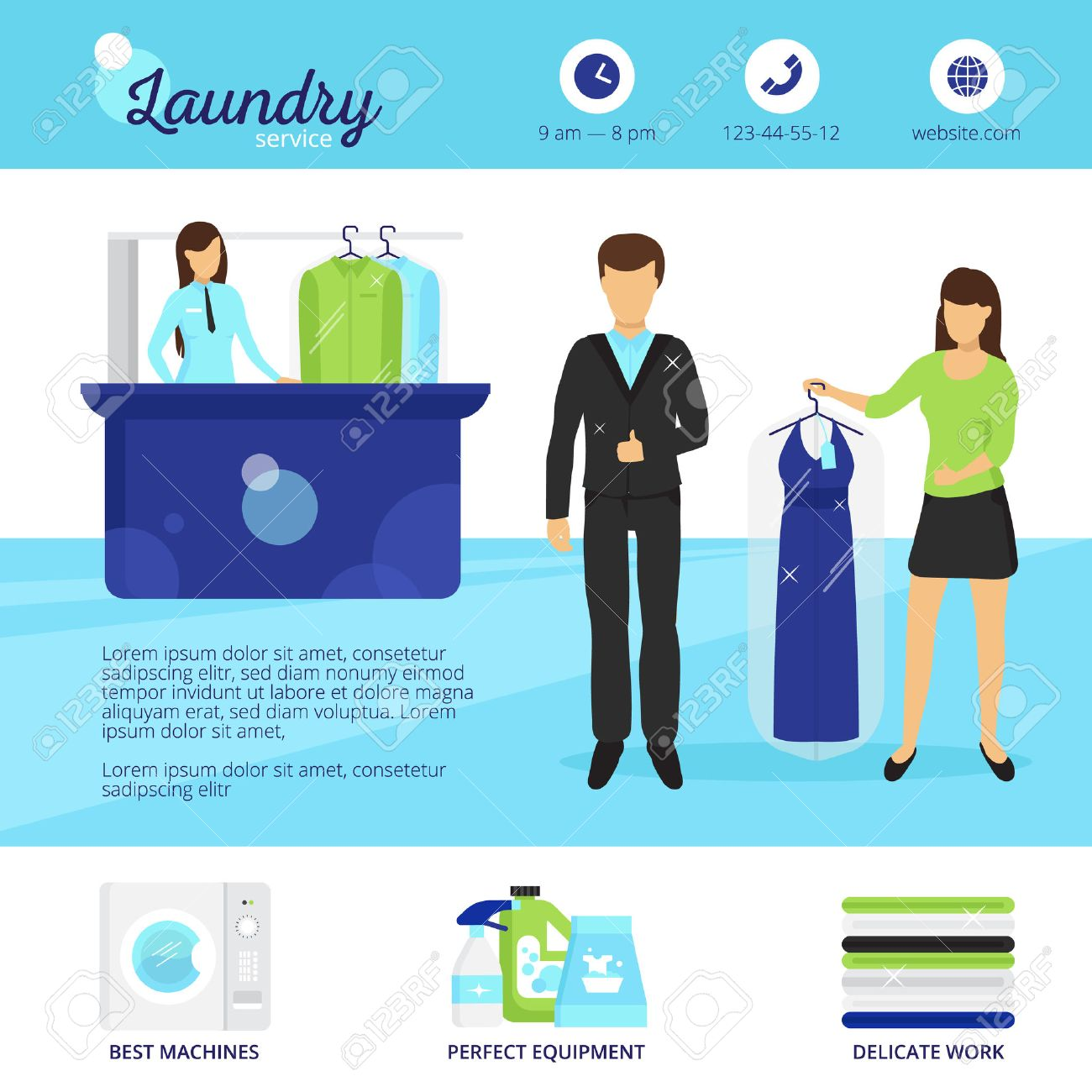 Laundry service with dry cleaning and washing symbols flat vector laundry service with dry cleaning and washing symbols flat vector illustration stock vector 64668411 buycottarizona Images