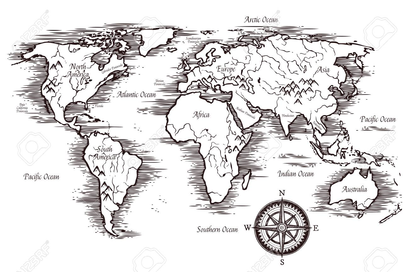 Sketch World Map Template In Black And White Colors With Titles