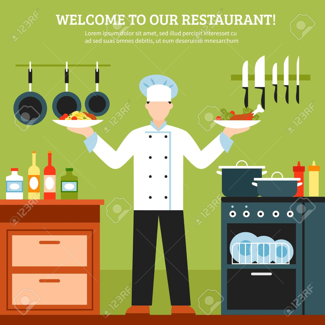 Restaurant Kitchen Illustration professional cooking design composition with chef in restaurant