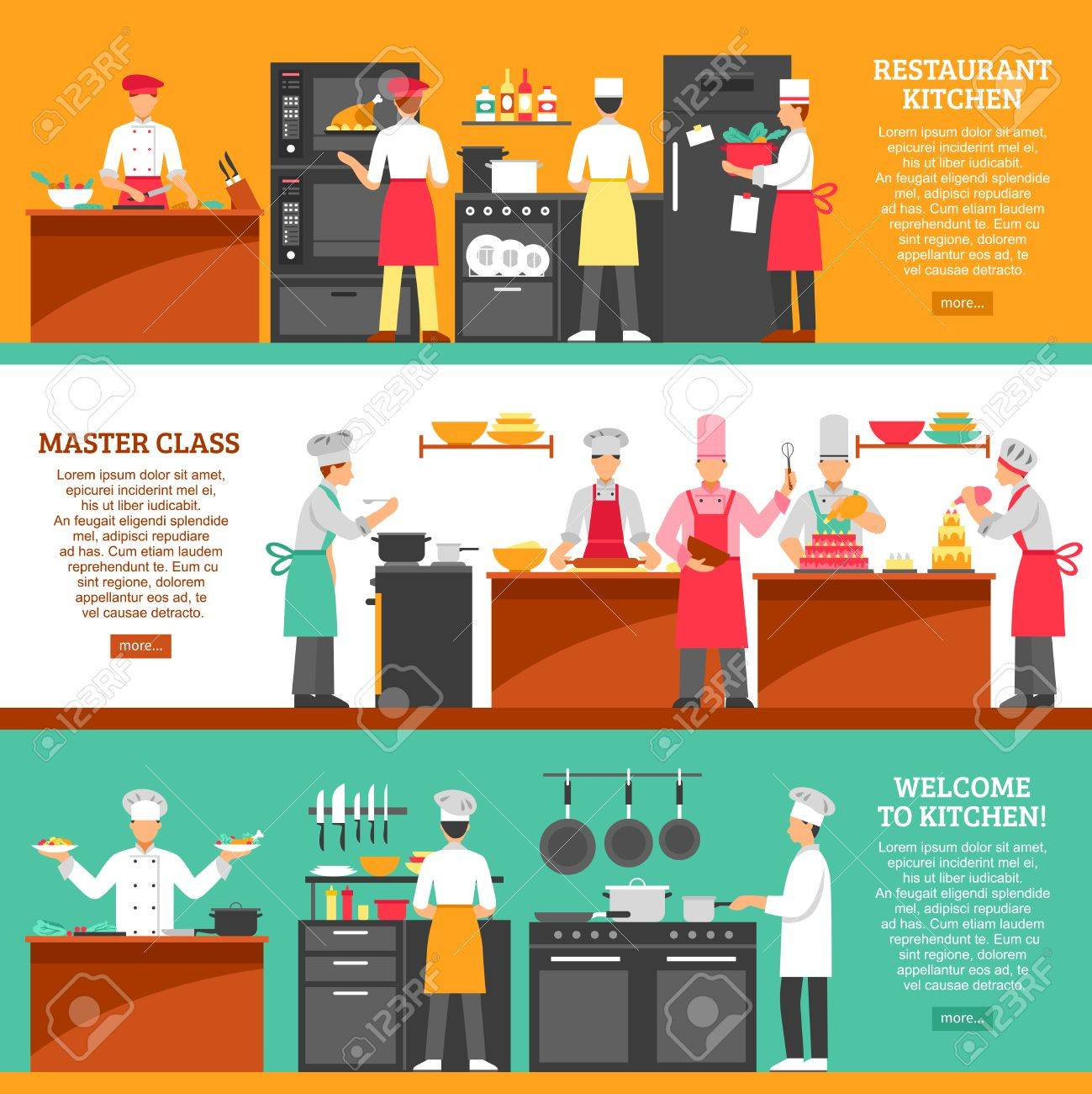 Professional cooking horizontal banners set with restaurant kitchen and master class compositions flat vector illustration - 64969243