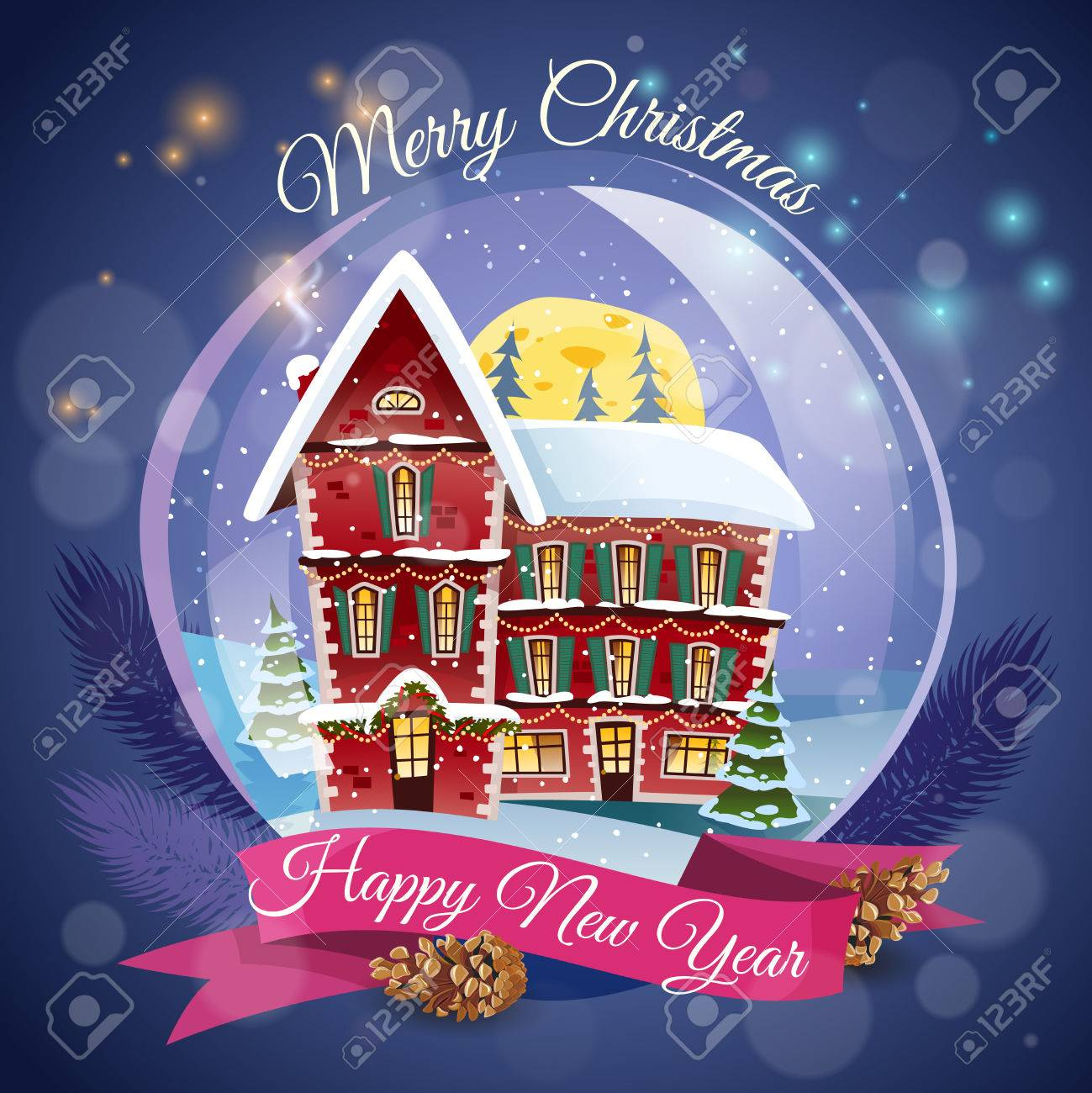 christmas greeting card with magic house at night lights background and happy new year wishing flat