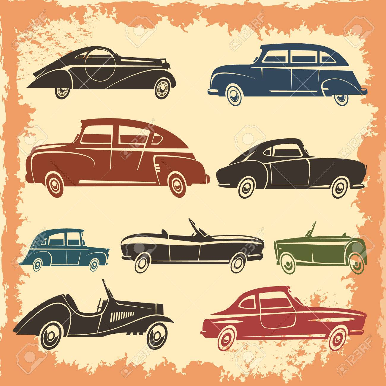 Retro Car Models Collection With Vintage Style Autos On Aged ...