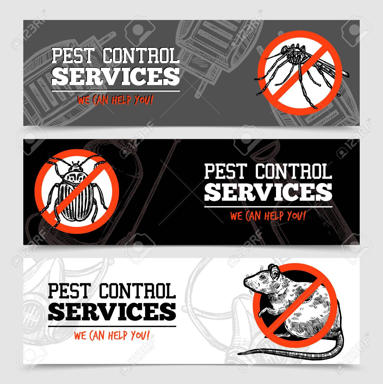 Pest control service horizontal sketch banners with insects and rodent isolated vector illustration - 65127639