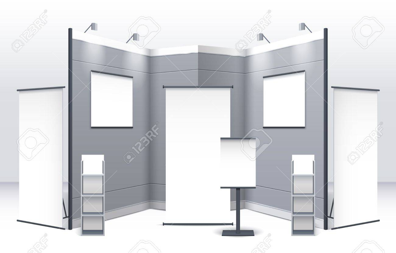 Exhibition Stand Free Vector : Exhibition stand template with displays shelves signboards and
