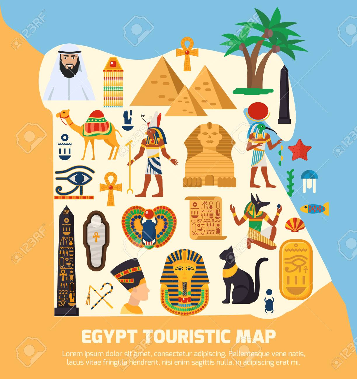 Egypt Touristic Map With National Landmarks And Sights Symbols - National landmarks map