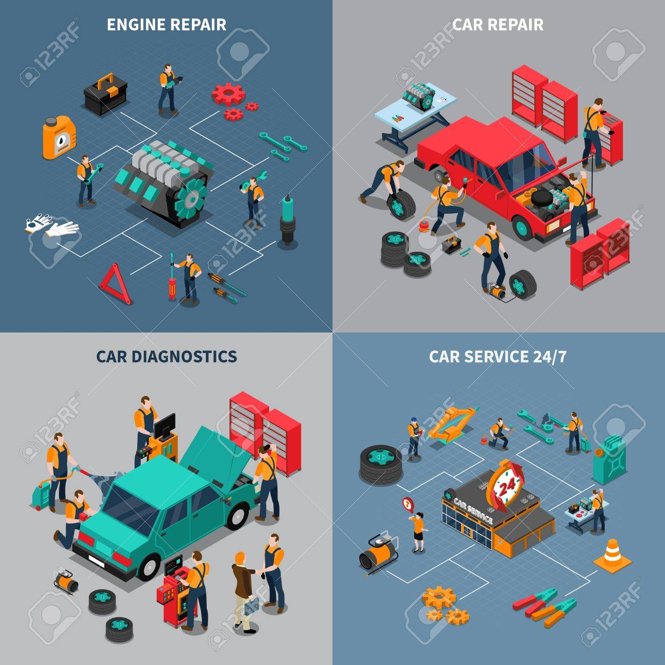 Auto service center 4 isometric icons square composition with diagnostic and car maintenance units isolated vector illustration - 65286395