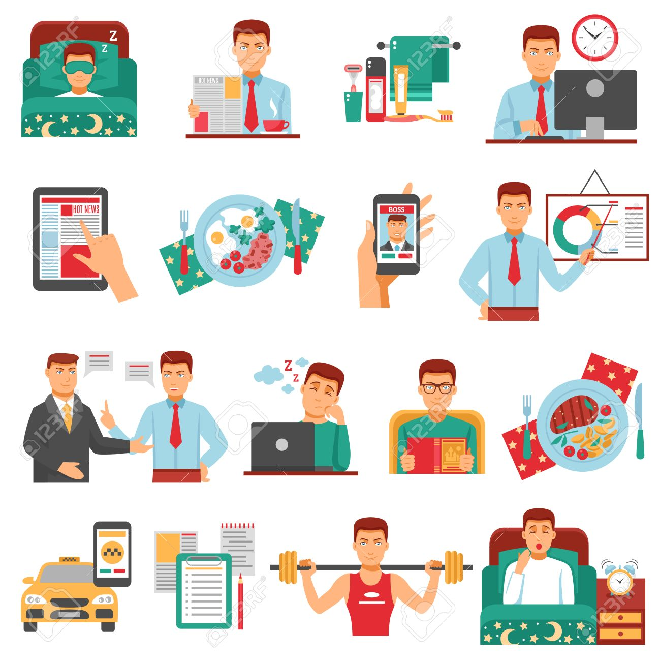 man daily routine icon set with a busy man during the day dream