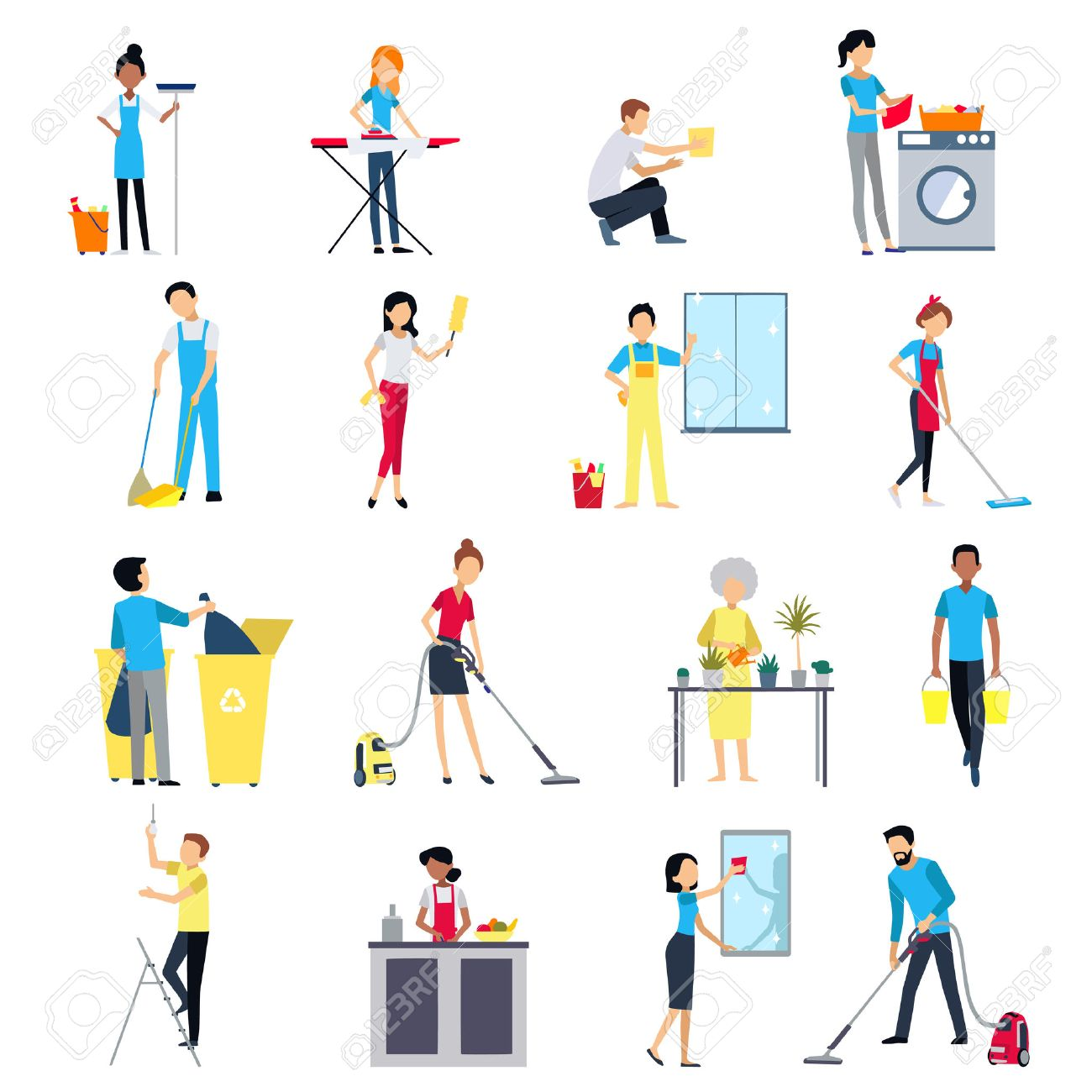 Cleaning people flat colored icons set with men and women house working cleaning washing isolated illustration Stock Vector - 65372456
