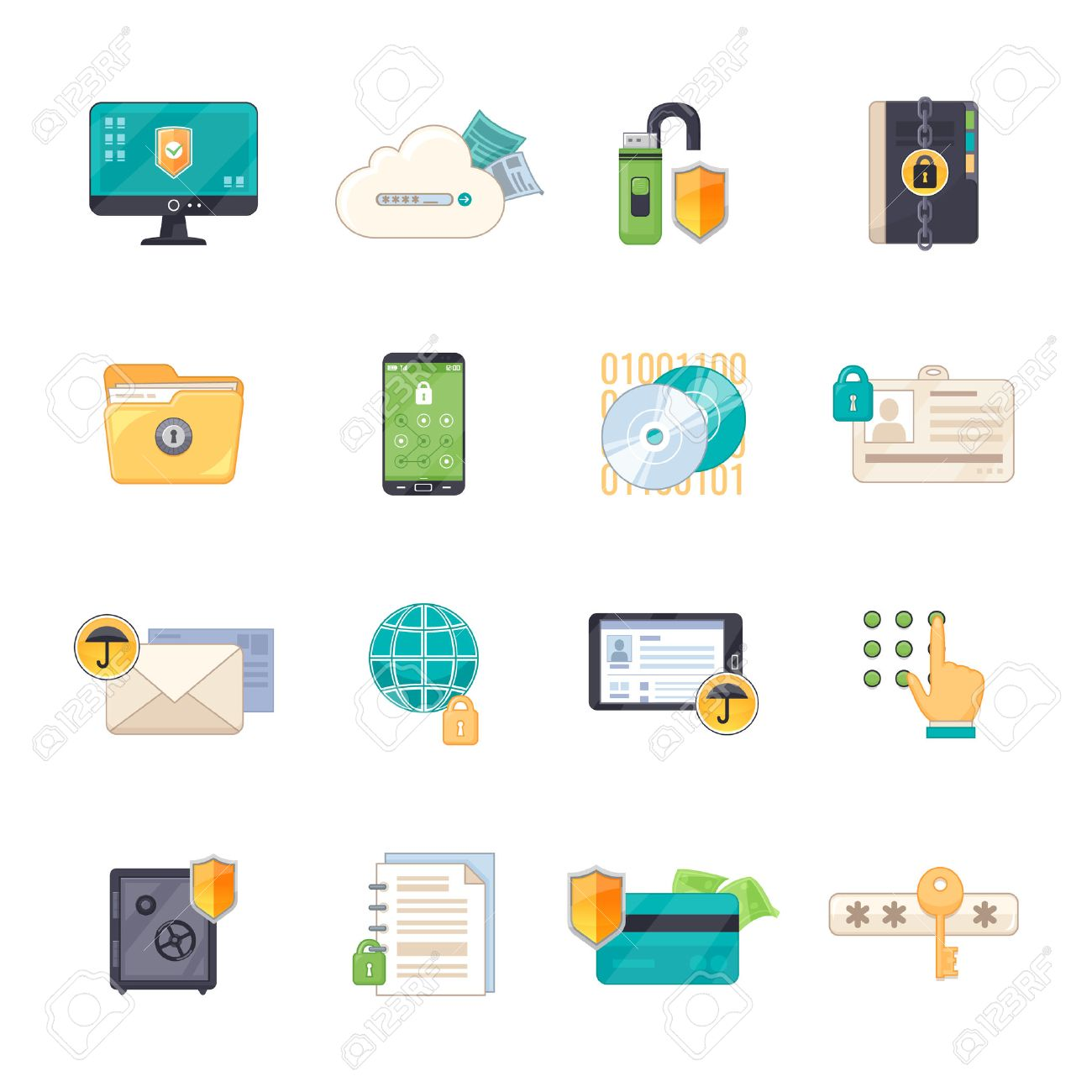 Safe personal data storage and online information exchange software protection shield flat icons set isolated vector illustration - 65401205