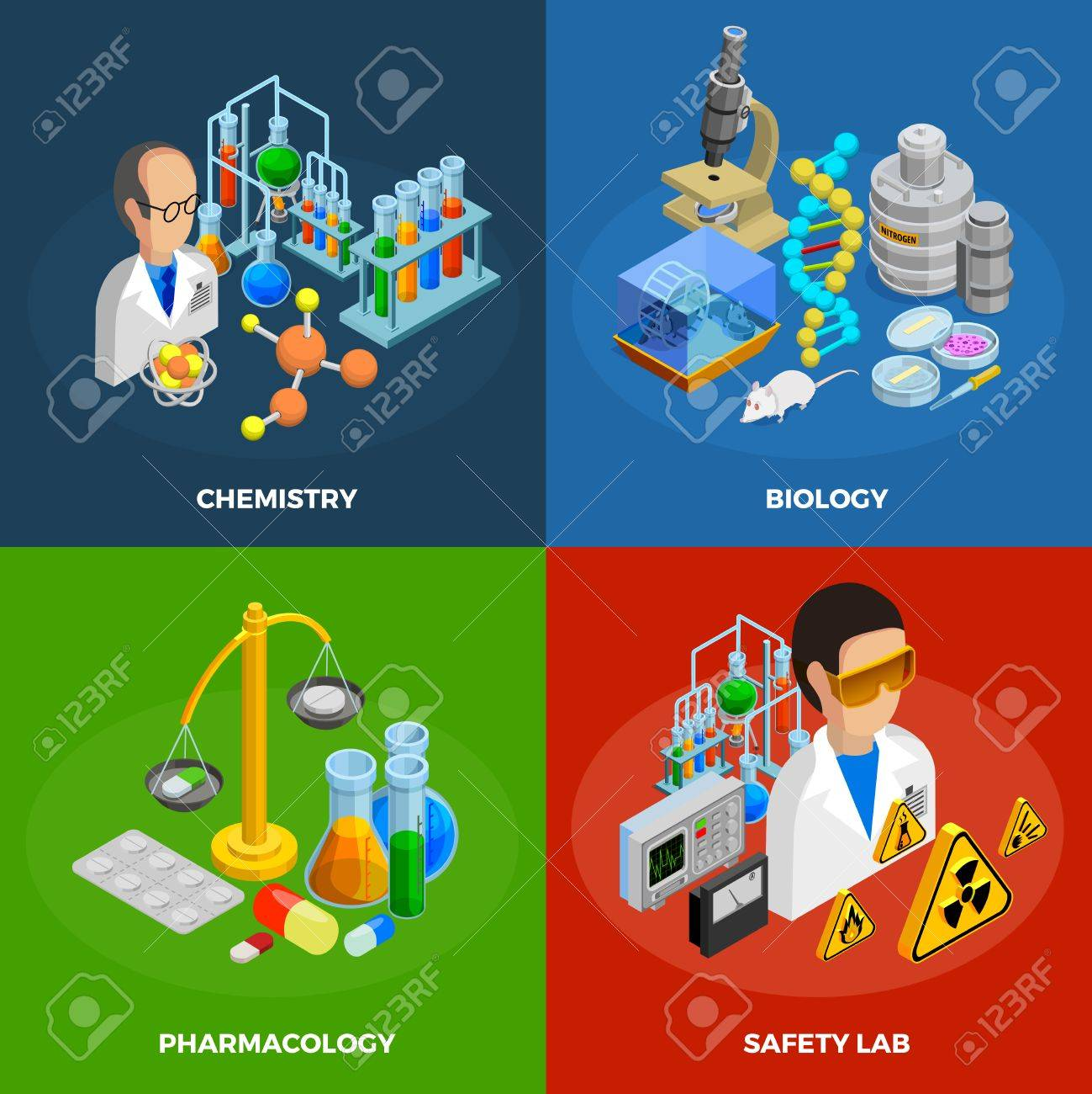 Science concept icons set with chemistry biology and pharmacology science concept icons set with chemistry biology and pharmacology symbols isometric isolated illustration stock vector buycottarizona