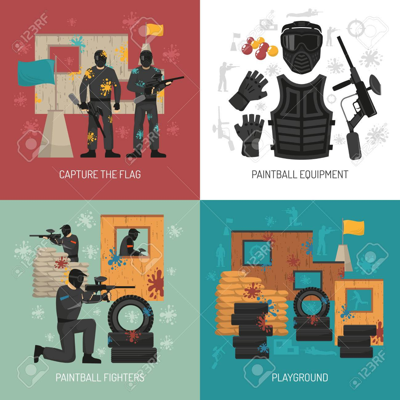 Flat paintball fighters field and equipment 2x2 design concept on colorful backgrounds isolated illustration Stock Vector