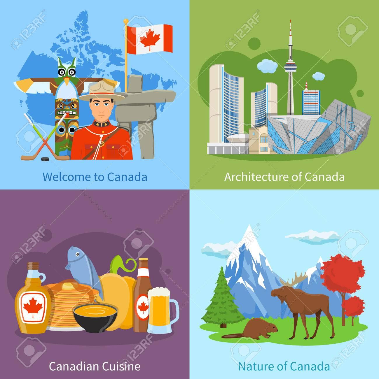 Kanadische Kultur Wahrzeichen Natur Und Küche Für Touristen 4 Flache ...