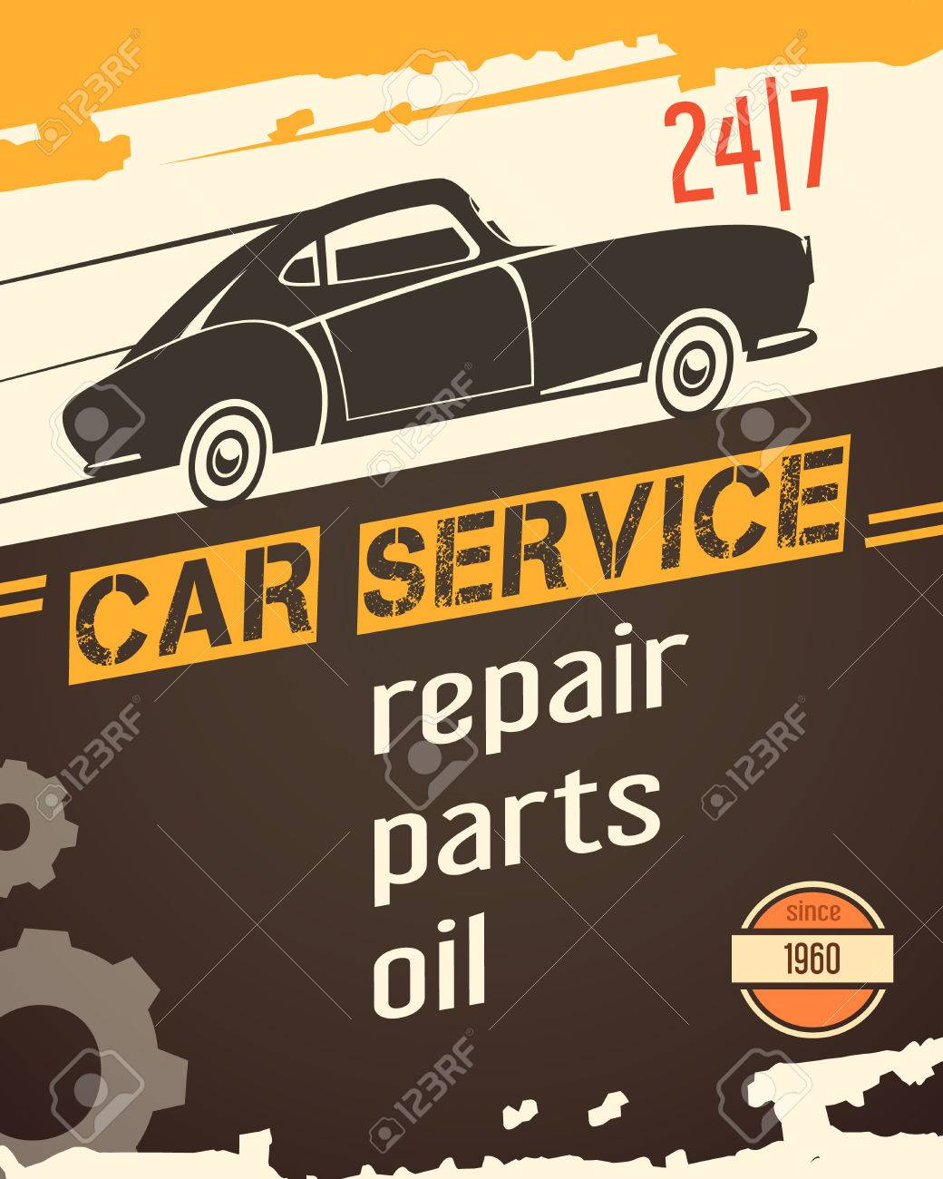 Original Vintage Auto Service Garage Poster For Sale With Retro ...