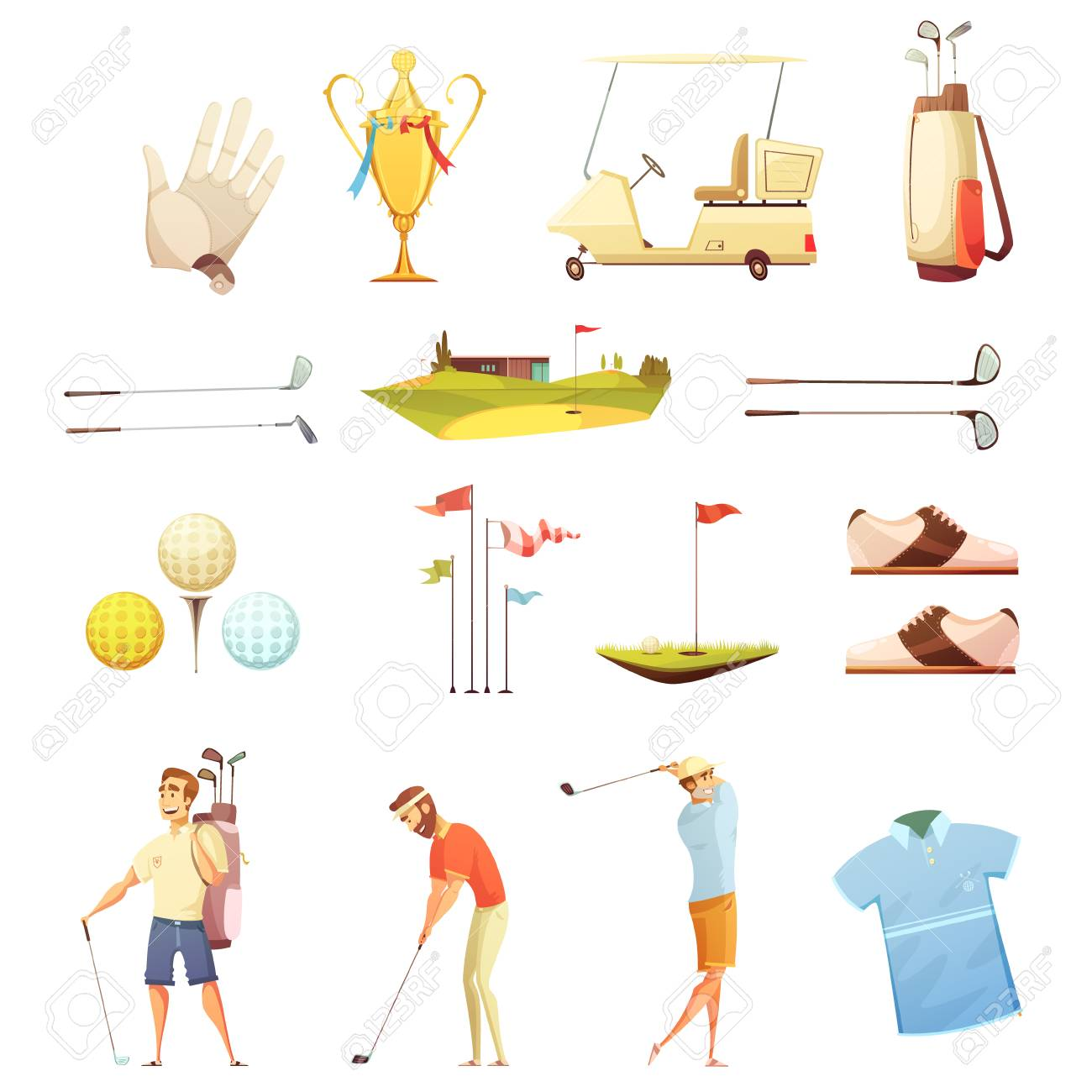 Golf Players And Accessories Retro Cartoon Icons Collection With Royalty Free Cliparts Vectors And Stock Illustration Image 67963487