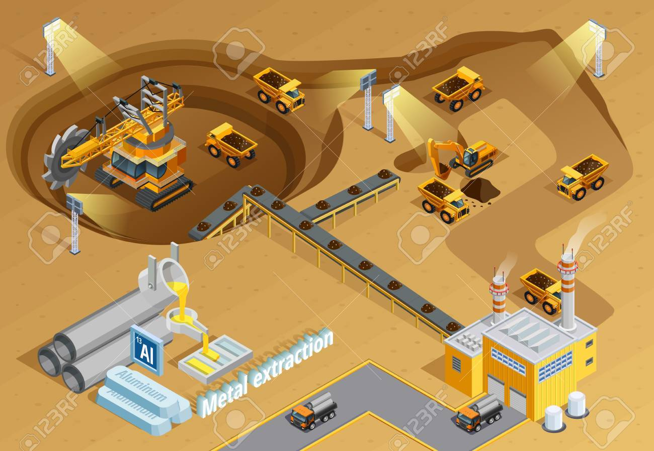 Mining and metal extraction background with machinery and equipment symbols isometric vector illustration - 67964639