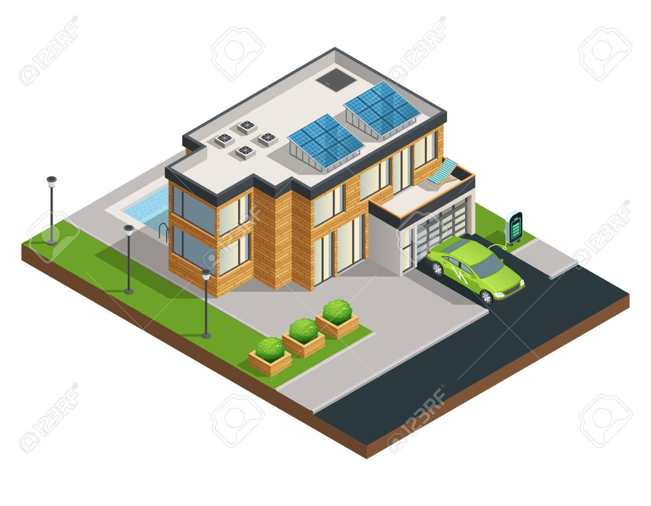 Big Modern Green Eco House With Solar Panels On Roof Beautiful ...