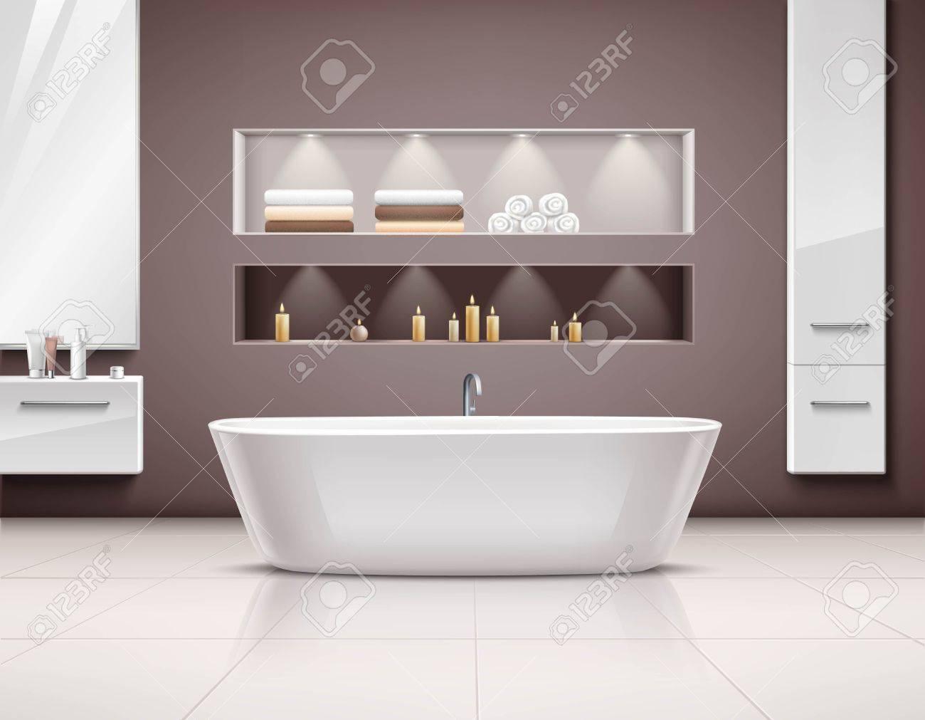 Luxuriöses Badezimmer Interieur Realstic Design Mit Weißen Bad Und ...