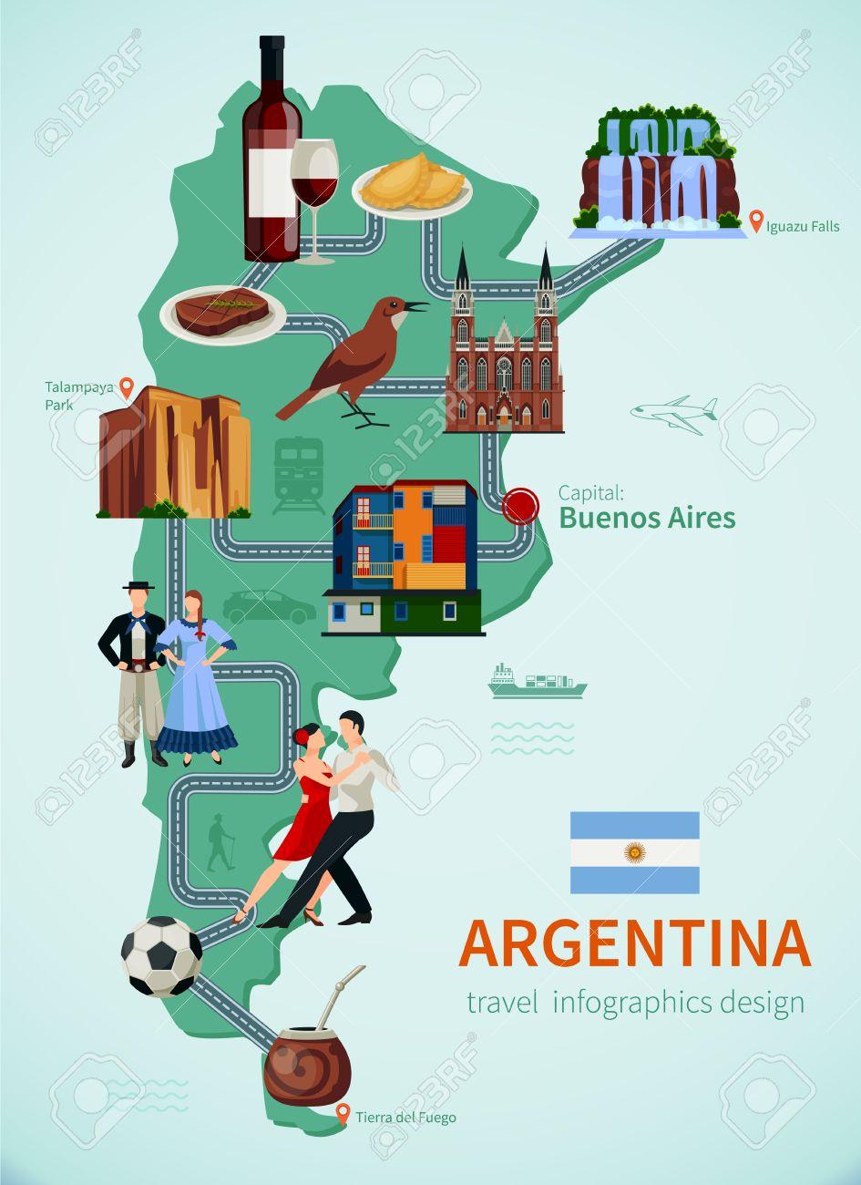 Argentina Atracción De Turistas Símbolos Mapa Plano Para Los - Argentina mapa