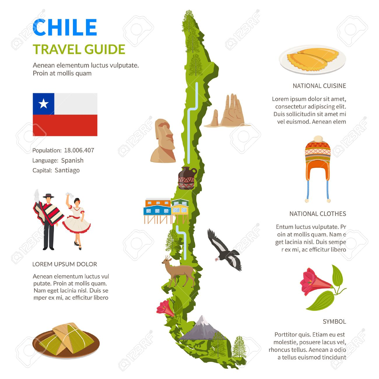 Chile infographics flat layout with border map and travel guide chile infographics flat layout with border map and travel guide page text elements and symbols illustration biocorpaavc Images
