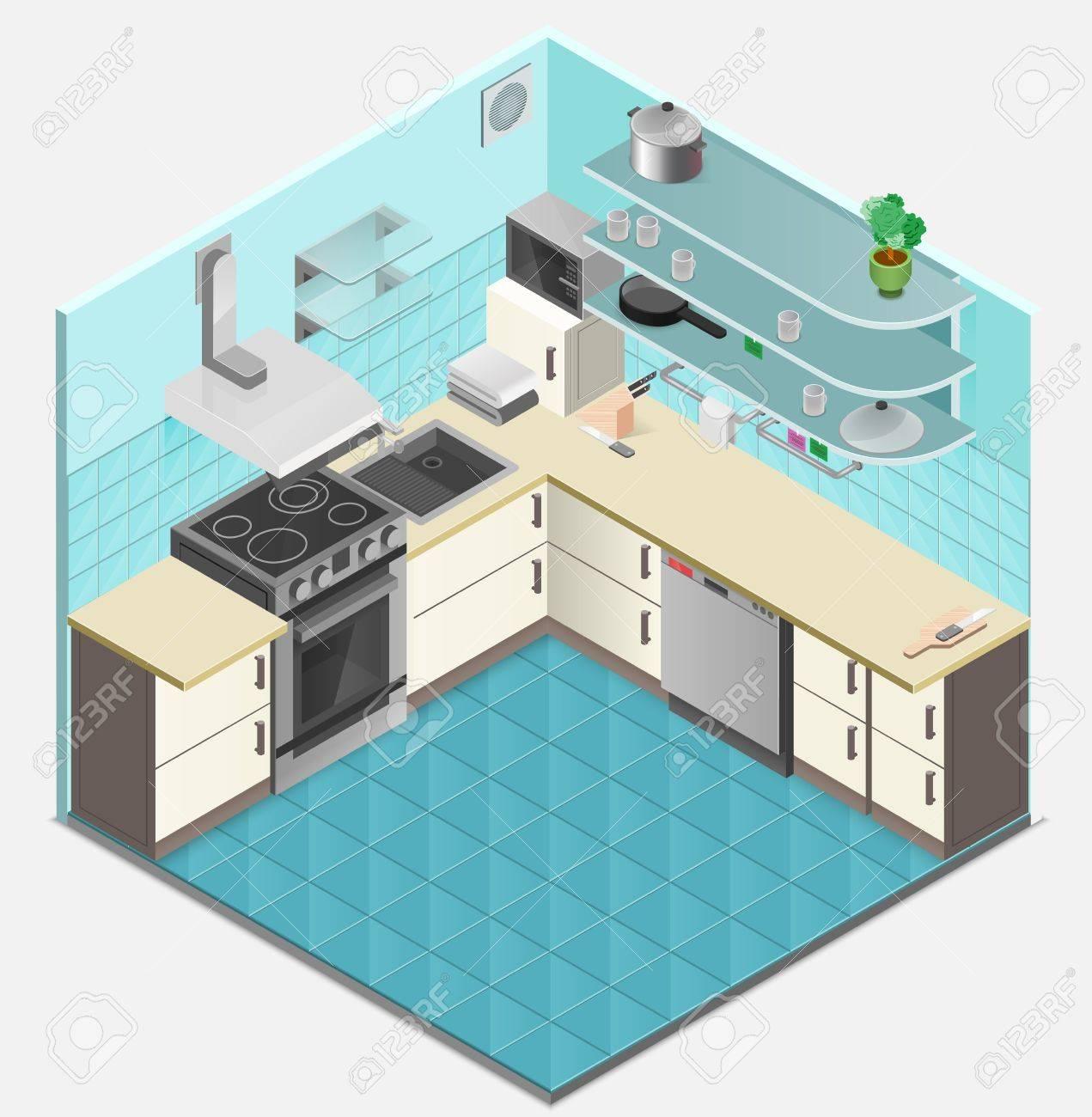 Küche Interieur Isometrische Vorlage Mit Backofen Lüftungs Regale ...