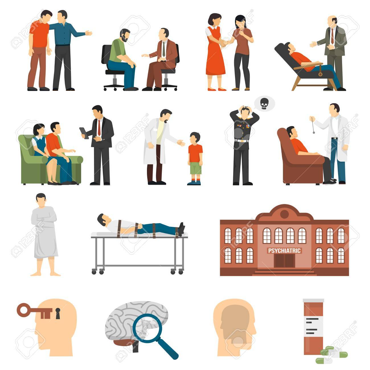 Flat color icons set depicting psychologist counselings for people having family problems and mental disorders isolated vector illustration - 68777787