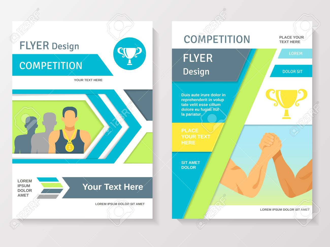 sports competition flyer template with winner partnership gold