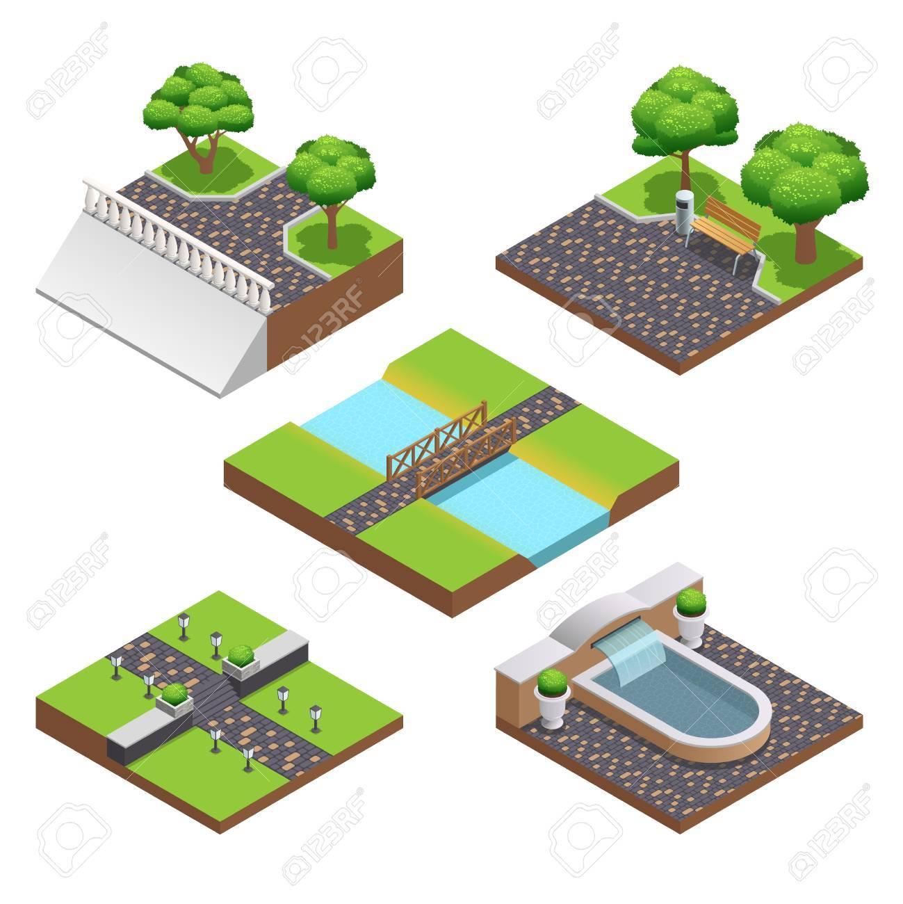 Landschaftsbau Isometrische Kompositionen Mit Sommer Baume Und