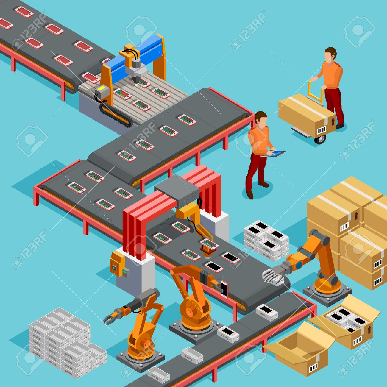 Automated factory assembly line with robotic arm and conveyor belt controlled manufacturing process isometric poster vector illustration Stock Vector - 68912455