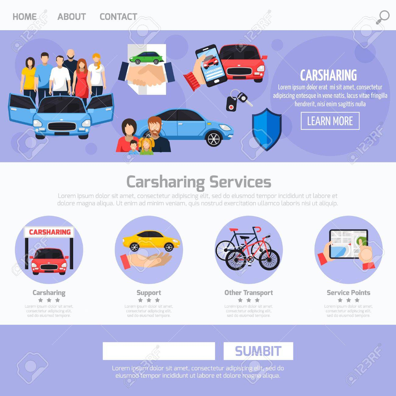 Carsharing Service Web Template Layout With Different Buttons ...