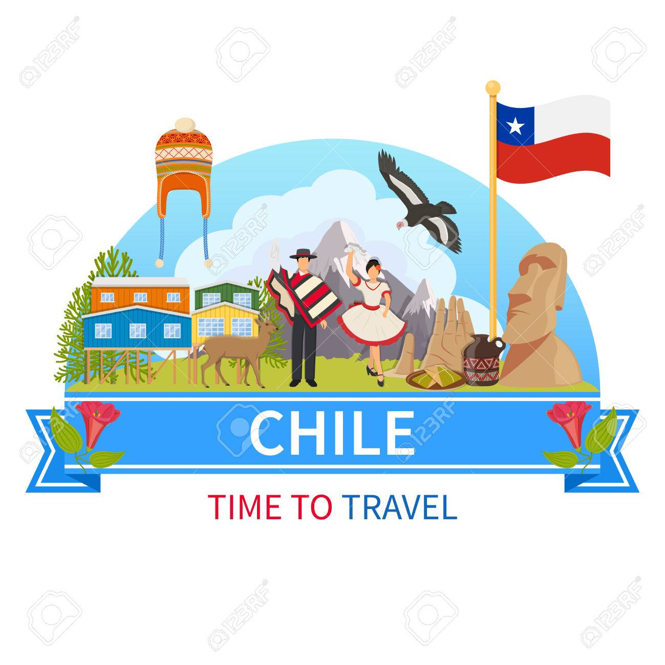 Chile flat composition with man and woman in ethnic clothes flora chile flat composition with man and woman in ethnic clothes flora and fauna of national park biocorpaavc Images