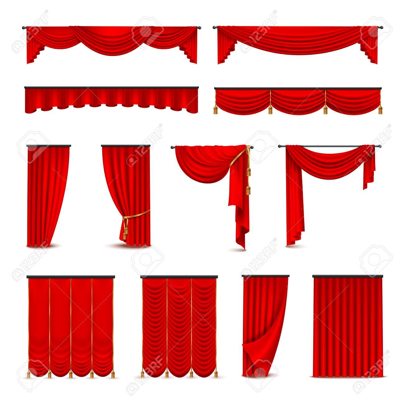 Interieur Ideeen Gordijnen.Luxe Scharlaken Rode Zijde Fluwelen Gordijnen En Draperieen Interieur Ontwerp Ideeen Realistische Pictogrammen Collectie Geisoleerd Vector Illustratie