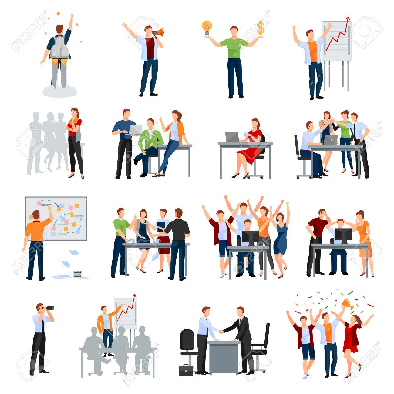 Business startup work moments flat icons collection with meeting planning presentation brainstorming teamwork and success isolated vector illustration - 71436944
