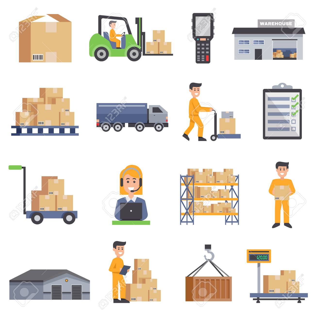 Warehouse isolated flat icons set of delivery truck shelves with goods scales boxes container and storage workers vector illustration - 69706926