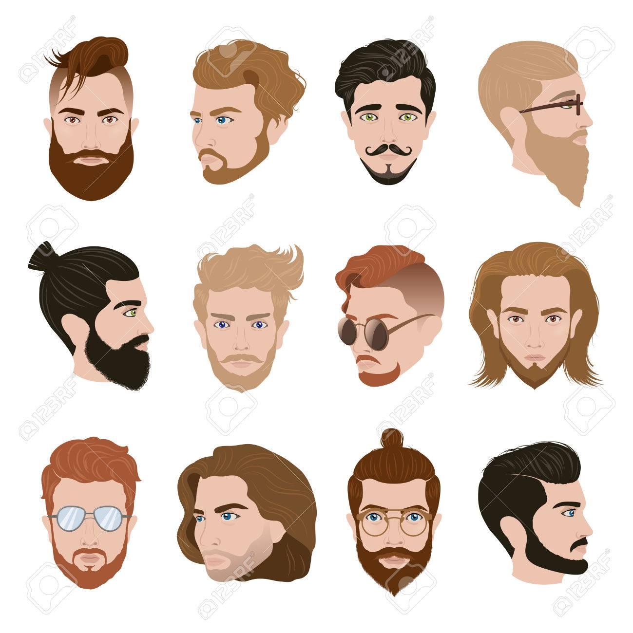 Männer Frisur Sammlung Mit Bärten Schnurrbart Gläser In