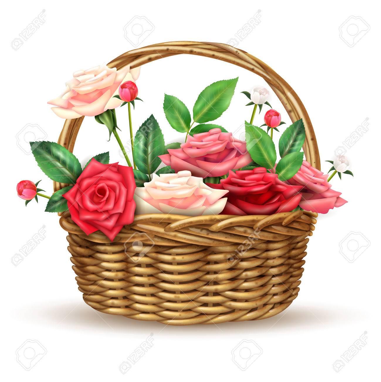 Beautiful flowers basket arrangement full with fine fresh roses beautiful flowers basket arrangement full with fine fresh roses for special occasions realistic close up izmirmasajfo